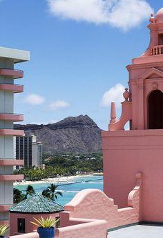The Royal Hawaiian Hotel, Waikiki overlooking Diamond Head.