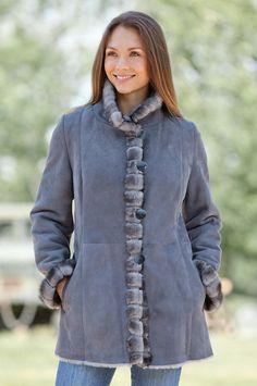 Women's Alberta Shearling Sheepskin Coat with Mink Fur Trim by Overland Sheepskin Co. (style 13918)
