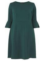Womens DP Curve Plus Size Green Liverpool Fit and Flare Dress- Green