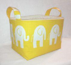 "Fabric Bin, Fabric Storage Bin, Basket, Yellow Elephant 8""x 6""x 6"". $20.00, via Etsy."