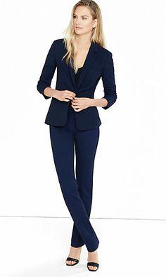 Blue Textured Slim Leg Columnist Suit