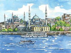 Impression dIstanbul en Turquie mosquées art de la peinture