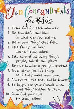 A true catholic version of the ten commandments for kids
