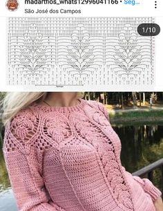 Letras e Artes da Lalá Crochet Poncho With Sleeves, Crochet Skirt Pattern, Crochet Blouse, Crochet Cable, Cute Crochet, Beautiful Crochet, Knit Crochet, Crochet Woman, Crochet Designs