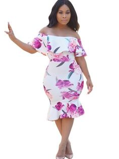 918929e05a White Fishtail Floral Women's Bodycon Dress. Club DressesSexy DressesFashion  ...