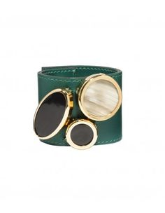 Marni Emerald Leather Bracelet - Shop more ways to travel in fashion: http://shop.harpersbazaar.com/designers/emirates