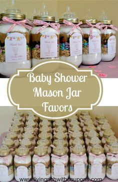 Baby Shower Mason Jar Favors - fill with your favorite cookie recipe!