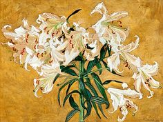 Albert Edelfelt (Finnish, Lilies, Mixed media, 38 x cm. Art Auction, Helsinki, Tumblr, Flower Art, Art Flowers, White Flowers, Art History, Modern Art, Contemporary