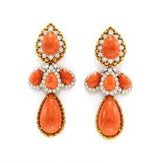 Pair of coral and diamond earrings by David Webb, circa 1960