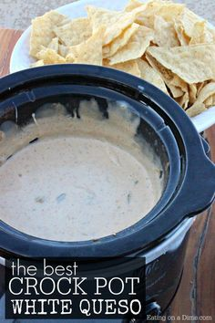 The Best Crock pot White Cheese Dip Needing an easy crock pot queso dip recipe? This crock pot Mexican white cheese dip recipe is easy to make and everyone loves it. Finally a restaurant quality white queso dip recipe that you can make at home. White Queso Dip Recipe, Queso Recipe, Recetas Crock Pot, Crock Pot Dips, Crock Pot Cheese Dip, Crock Pots, Slow Cooker Recipes, Crockpot Recipes, Cooking Recipes