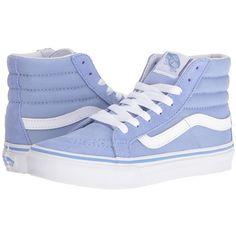 Vans SK8-Hi Slim (Bel Air Blue/True White) Skate Shoes ($65) ❤ liked on Polyvore featuring shoes, sneakers, white high top sneakers, white leather sneakers, white shoes, vans sneakers and vans high tops