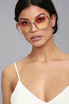 Lulus - Lulus Vibrant Vibes Rose Gold and Yellow Sunglasses - AdoreWe.com