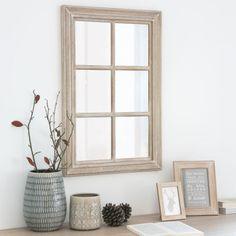 spiegel in fensteroptik aus holz und schwarzem metall h120. Black Bedroom Furniture Sets. Home Design Ideas
