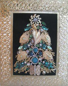 Vintage Jewelry Christmas Tree Framed   eBay