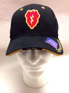 5c07e7f58a1 US Army 25th Infantry Hat Black Velcro Adjustable Military Ball Cap ML Caps  NWT  MLCaps