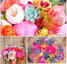 colourful wedding flowers with a thistle twist