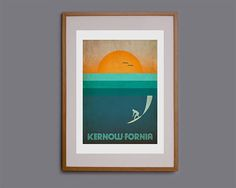 A stunning piece of surf related wall art, with a nod to our favourite county, Cornwall (Kernow). This print works well on its own but also with other prints which can be found in the Kernow-fornia series. This print will make a fantastic gift to any surfer, and the vintage style is incredibly popular.  This design started life as a hand drawn sketch, and was then finished digitally in Illustrator. It is available in both A3 (10x14 inch image on A3 paper) and A2 (14x20inch image on A2…