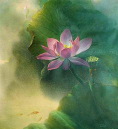 Jiang Debin- was born in 1963 in Chongqing City. In 1987 he graduated from the oil painting department of the Southwest Normal University. From 1987 to 1992 he worked as a teacher at the Sanxia Scienc Watercolor Lotus, Lotus Painting, Watercolor Flowers, Watercolor Paintings, Art Lotus, Lotusblume Tattoo, Sanskrit Tattoo, Hamsa Tattoo, Image Zen