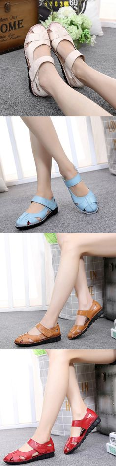 SOCOFY Big Size Hollow Out Breathable Hook Loop Leather Flat Shoes