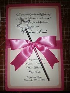 10 PRINCESS BABY SHOWER INVITATIONS WITH WAND / PINK - Custom Handmade