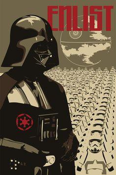 Enlist...  reproduction wartime themed Star Wars propaganda poster http://www.bluehorizonprints.com.au/canvas-art/star-wars-art/star-wars-propaganda-posters-enlist/