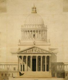 Ill. 2: Façade principale du projet en 1838 pour une «église cathédrale», par Toussaint-François-Joseph Uchard