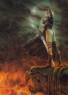 The Hour Has Arrived Posters by Luis Royo Fantasy Art Fantasy Warrior, Fantasy Art Women, Dark Fantasy Art, Fantasy Girl, Anime Fantasy, Final Fantasy, Fantasy Artwork, Fantasy Posters, Heavy Metal Art