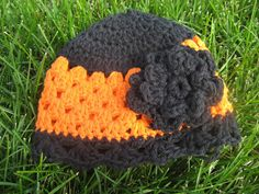 It's this the Cutest Hat Ever??!!???  Let's make one.....  Pick your favorite Black and Orange yarn....   I like working with 100% cotton s...