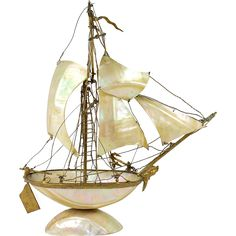 """Antique 19th c. French Mother of Pearl 11"""" Tall Ship, Sail Boat Pocket Watch Stand, Grand Tour - Antique 19th c. French Mother of Pearl 11"""" Tall Ship, Sail Boat Pocket Watch Stand, Grand Tour"""