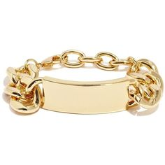 GUESS by Marciano ID Bracelet ($35) ❤ liked on Polyvore featuring jewelry, bracelets, accessories, pulseras, pulseiras, gold dust, yellow gold bangle, chain link bracelet, gold twist bracelet and gold id bracelet