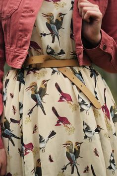 Bird print dress, belt, coral denim jacket
