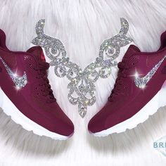 Swarovski Nike Air Max 90 Ultra - Maroon - Blinged Authentic Women's Nike Air Max 90 Ultra Shoes in Maroon!  Outer Logos Are Customized With HUNDREDS Of The Most Expensive SWAROVSKI® Crystals In The World- In ALL Different Sizes. Our Crystals Feature X-Cut Technology For Diamond-Like Brilliance And Shine.  Brand new in original box, purchased directly from an authorized Nike retailer.  Crystals have been applied with industrial strength glue. Will never come off.  For better pricing and more…