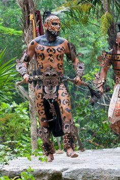 Mayan Dancer Representing Jaguar in Pre-Hispanic Mayan Culture. Xcaret, Riviera Maya, Yucatan - Mexico