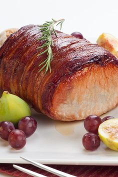 Bacon Wrapped Pork Loin with Garlic and Herbs Recipe