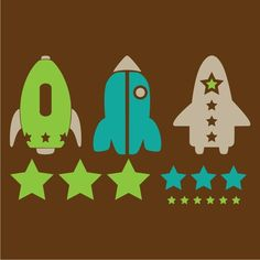 Rocket Ships and Stars Space Vinyl Wall Decal Kit. $35.00, via Etsy.