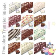 Collection of Chocolate Transfer Sheets in a huge range of patterns available from PartyAnimalOnline.