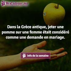 Dans la Grèce antique, jeter une pomme sur une femme était considéré comme une demande en mariage.