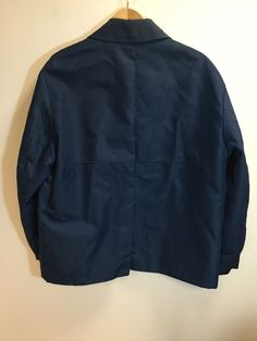 Helmut Lang OG Archive Deep Blue Nylon Pea Jacket Wide Arms 50 Italy   eBay