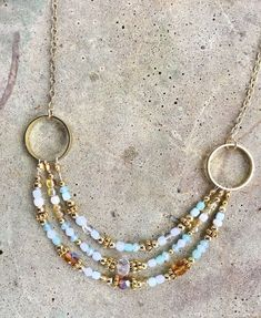 Costume Jewelry Beaded Light Blue and Gold Toned Necklace #Handmade