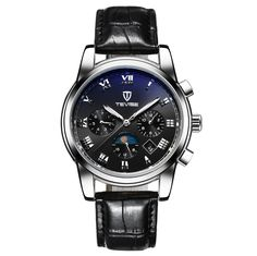 43.00$  Buy here - http://alijkn.worldwells.pw/go.php?t=32764859963 - fashion moon phase male automatic watch steel leather mechanical casual calendar men's wristwatch luxury tevise brand man clocks 43.00$