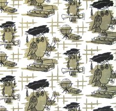 Vintage OWL Wrapping Paper Graduation NOS New Old by NeatoKeen