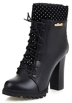 Summerwhisper Women's Trendy Polka Dots Round Toe Lace-up Booties Chunky High Heel Back Zipper Ankle Boots *** Additional info  : Western boots