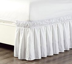 Wrap Around inch Long Fall White Ruffled Elastic Solid Bed Skirt Fits All Queen, King and Cal King Size Bedding High Thread Count Microfiber Dust Ruffle, Soft & Wrinkle Free.Microfiber is Colorfast-One plus for microfiber fabric is its ability to hol