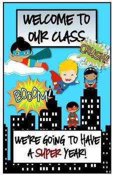 Classroom Decor - Superhero Theme Instead of boom or crash. Use read. Write. Math?.