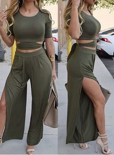 Sexy Scoop Neck Solid Color Short Sleeve Crop Top + High Slit Wide Leg Pants Twinset For WomenPants | RoseGal.com