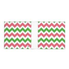 Pink and green chevron 2 inch 3 ring binder