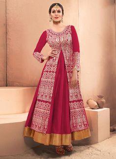 Thrilling Hot Pink Net Resham Work Designer Gown