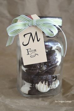Dark chocolate covered cream cheese mints are a cute gift!