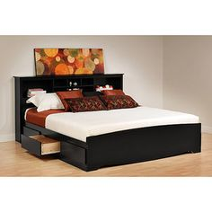 Now that were married... lol this would be awesome! Prepac Brisbane King Platform Storage Bed with Storage Headboard, Black