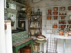 Inside Joan's potting shed - Oh my! I want it! Seen here: anything goes here: the potting shed
